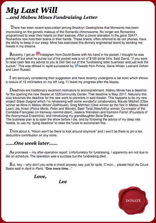 Lee Breuer Xmas Letter 2016